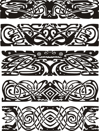 animalistic: Animalistic knot designs in celtic style. Black and white vector illustrations.