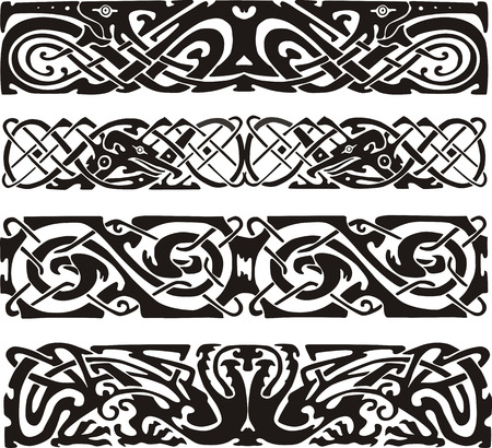animalistic: Knot designs in celtic style with birds. Black and white vector illustrations.