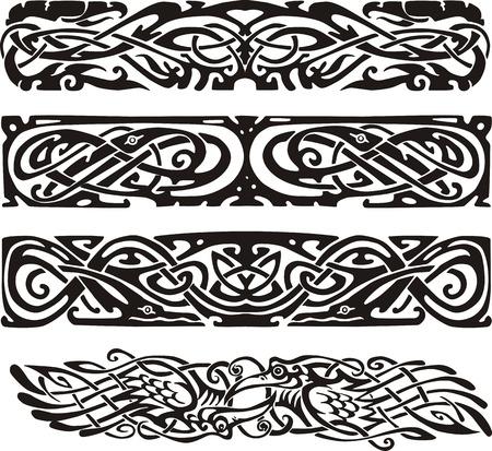 nudo: Dise�os de nudos en estilo celta con aves. Ilustraciones de vectores en blanco y negro.
