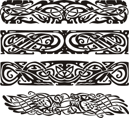 Knot designs in celtic style with birds. Black and white vector illustrations. Vector