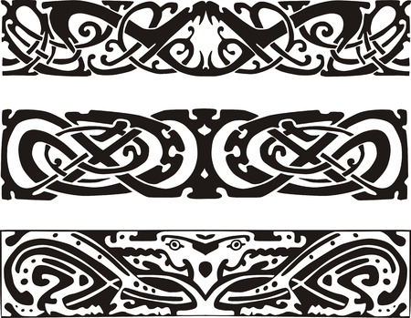 animalistic: Knot designs in celtic style with snakes and dragon. Black and white vector illustrations.