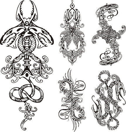 dragon vertical: Stylized double dragons. Set of black and white vector illustrations.