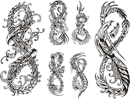 dragon vertical: Stylized dragons as digit eight. Set of black and white vector illustrations.