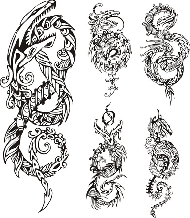 dragon vertical: Stylized dragon knot tattoos. Set of black and white vector illustrations. Illustration
