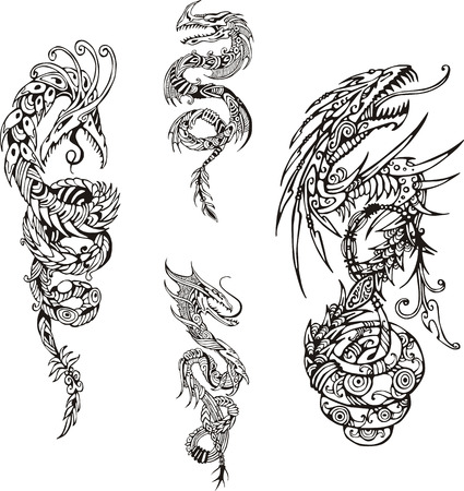 dragon vertical: Stylized dragon spiral tattoos. Set of black and white vector illustrations.