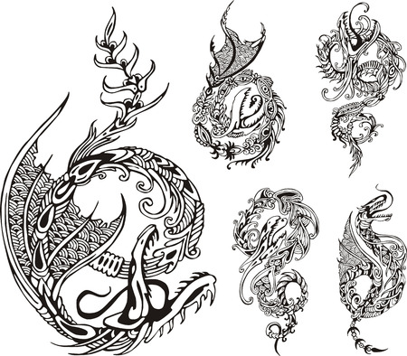 dragon vertical: Stylized dragon tattoos. Set of black and white vector illustrations. Illustration