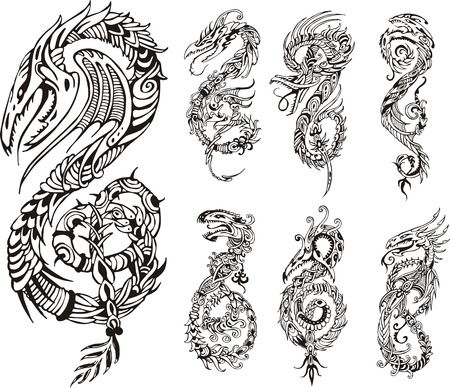 Stylized dragons as initial S. Set of black and white vector illustrations.