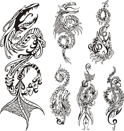 dragon tattoo design: Vertical stylized dragon tattoos. Set of black and white vector illustrations.
