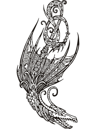 Stylized winged dragon tattoo. Black and white vector illustration. Vector