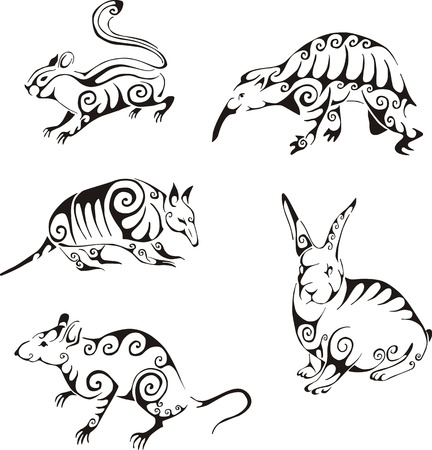 Wild animals in tribal style. Set of black and white vector illustrations. Tattoos.
