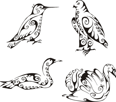 swans: Birds in tribal style. Set of black and white vector illustrations. Tattoos.
