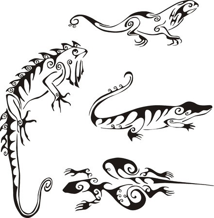 Lizards in tribal style. Set of black and white vector illustrations. Tattoos. Vector