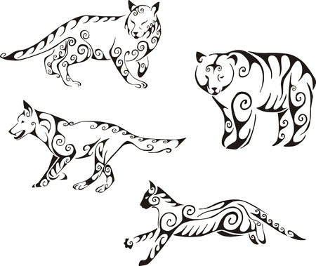 Predator animals in tribal style. Set of black and white vector illustrations. Tattoos.
