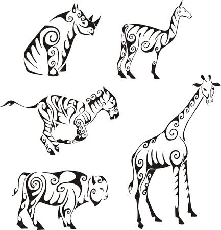 部族スタイルでの有蹄類の動物。黒と白のベクトル イラストのセットです。入れ墨。  イラスト・ベクター素材