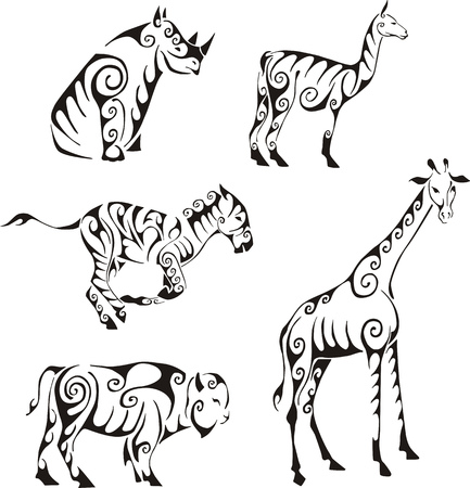 Ungulates animals in tribal style. Set of black and white vector illustrations. Tattoos. Illustration