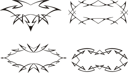 Decorative spiny frames. Set of black and white vector illustrations.