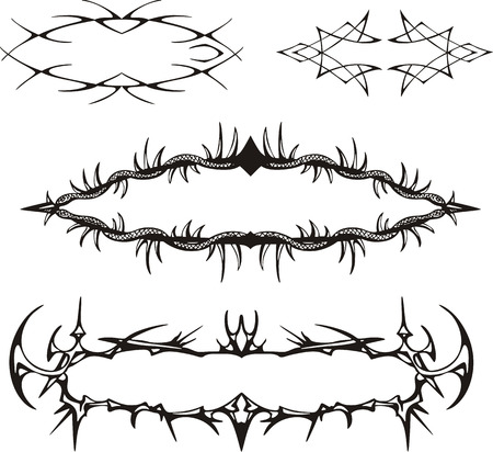 spiny: Decorative spiny frames. Set of black and white vector illustrations.