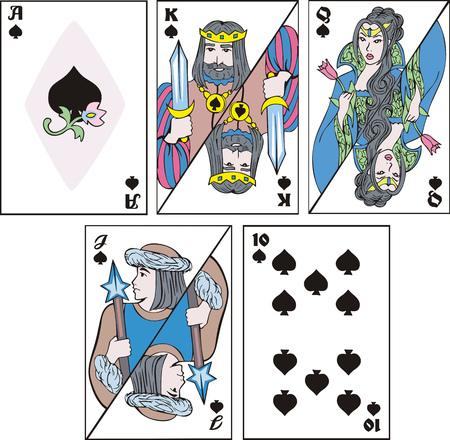카드 놀이 - 스페이드 세트.