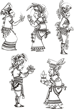 mesoamerican: People characters in ancient maya style.
