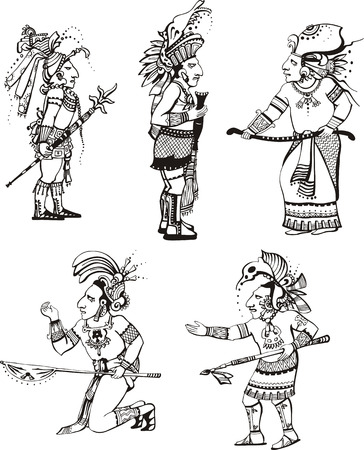 People characters in ancient maya style.