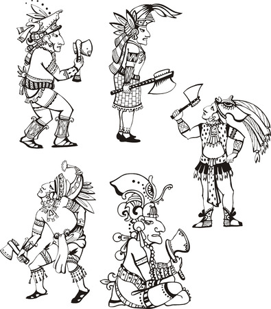 cult tradition: People characters in ancient maya style.  Illustration