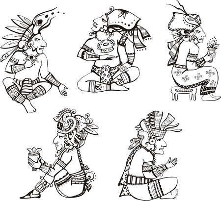 mesoamerican: People characters in ancient maya style.  Illustration
