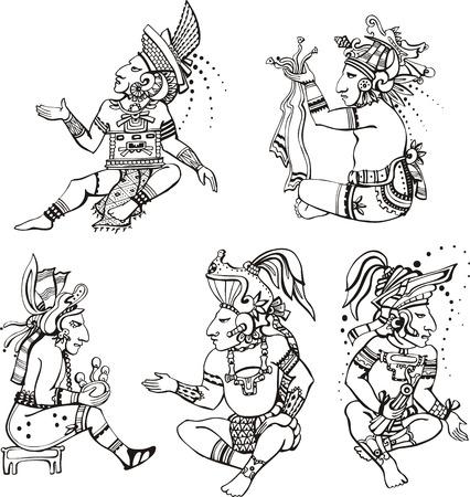 Persone personaggi in stile antico maya.