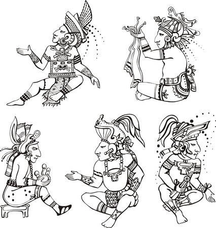 mayan culture: People characters in ancient maya style.  Illustration