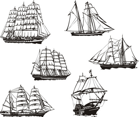 Black and white sketches of sailing ships. Vector Illustration