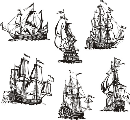 Black and white sketches of sailing ships. Vector