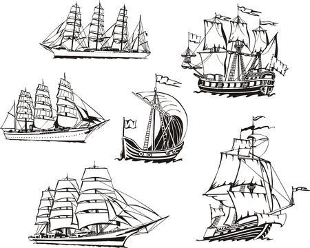 historical ship: Black and white sketches of sailing ships.