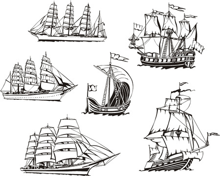 Black and white sketches of sailing ships.
