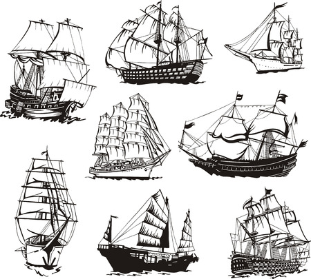 ancient ships: Black and white sketches of sailing ships.