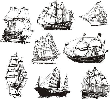 Zwart-wit schetsen van zeilschepen.