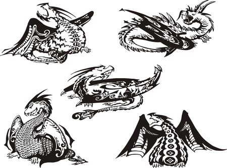 Set of black and white powerful dragons. Vector illustration. Vector