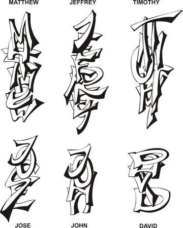 jeffrey: Stylized male names as monograms. Set of black and white vector illustrations.