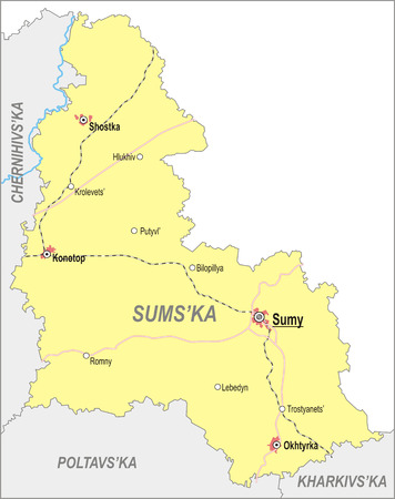 oblast: Map of Sumy Oblast with major cities and roads