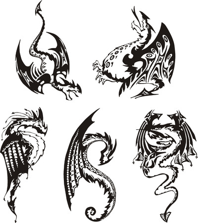 mythical: Set of black and white powerful dragons. Vector illustration.