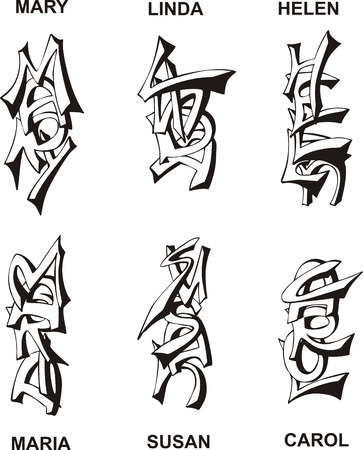 black maria: Stylized female names as monograms. Set of black and white vector illustrations.