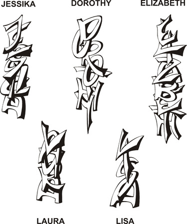 superscription: Stylized female names as monograms. Set of black and white vector illustrations.