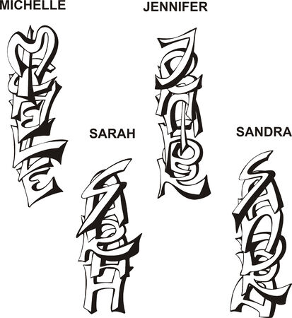 jennifer: Stylized female names as monograms. Set of black and white vector illustrations.