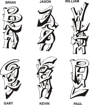 Nombres masculinos estilizados como monogramas. Conjunto de ilustraciones vectoriales en blanco y negro.