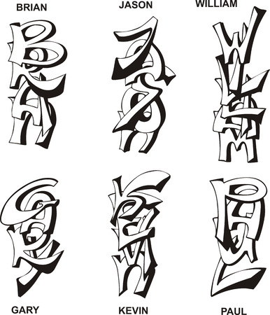 superscription: Stylized male names as monograms. Set of black and white vector illustrations.