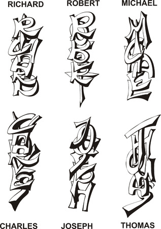 bob: Stylized male names as monograms. Set of black and white vector illustrations.