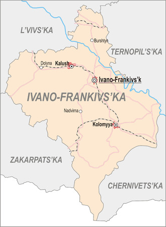 oblast: Map of Ivano-Frankivsk Oblast with major cities and roads
