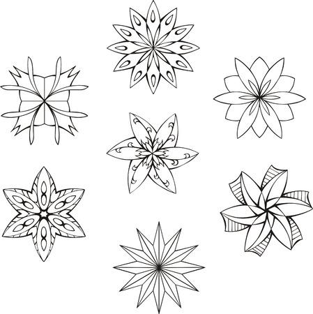 dingbats: Black and white dingbats in shape of star. Set of vector illustrations. Illustration