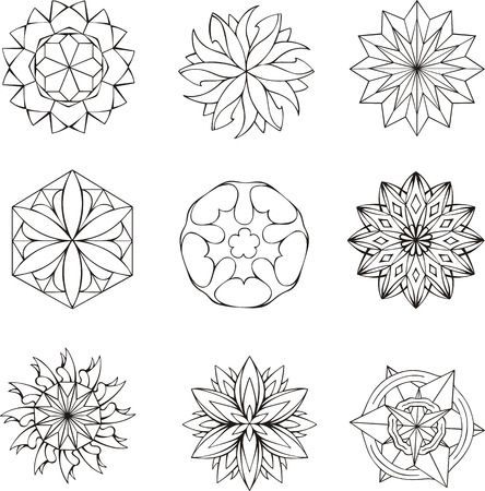 dingbats: Round black and white dingbats as stars. Set of vector illustrations.