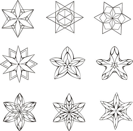 dingbats: Black and white dingbats in shape of star. Set of vector illustrations. Illustration