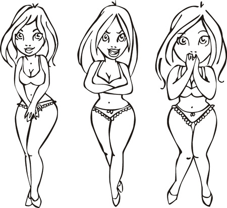 seminude: Vector sketches of pretty girls. Set of black and white illustrations.