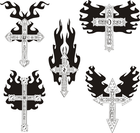 Crosses with flames. Set of black and white vector illustrations.